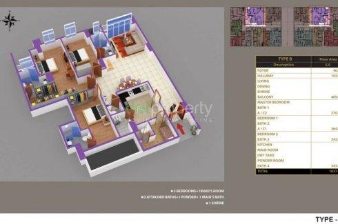 3 အိပ္ခန္းမ်ား ကြန္ဒို ေရာင္းရန္ အတြင္း Grand Myakanthar Condominium, Hlaing, Yangon